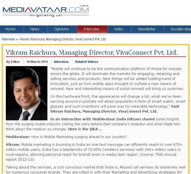 MEDIAVATAAR - Vikram Raichura, Managing Director, VivaConnect Pvt_ Ltd_' - www_mediavataar_com_index_php_interview_7233-vikram-raichura-managing-directo