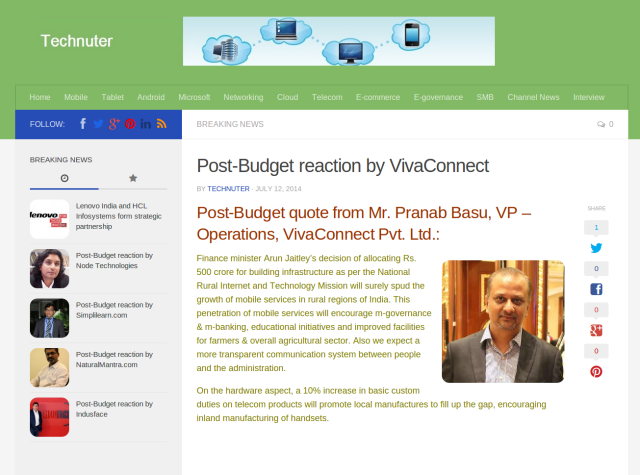 Post Budget reaction by VivaConnect   Technuter
